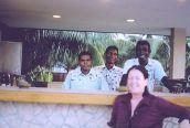 Thoha, Niyaz, Arun at Hulhule poolside